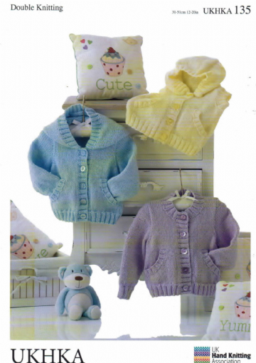 DK Baby Knitting Pattern - Hoody Cardigan Waistcoat all with Pockets UKHKA 135